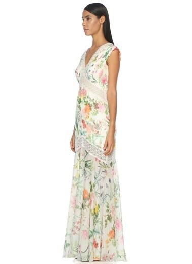 V Yaka Uzun Çiçek Desenli Elbise-Tadashi Shoji